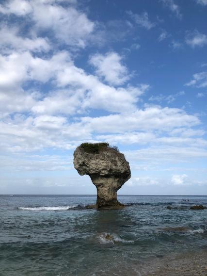 小琉球著名地標-花瓶岩,附近許多綠蠵龜